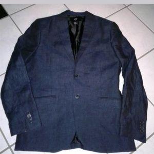 H&M Slim Fit Linen Jacket Blazer 36R Deep Denim